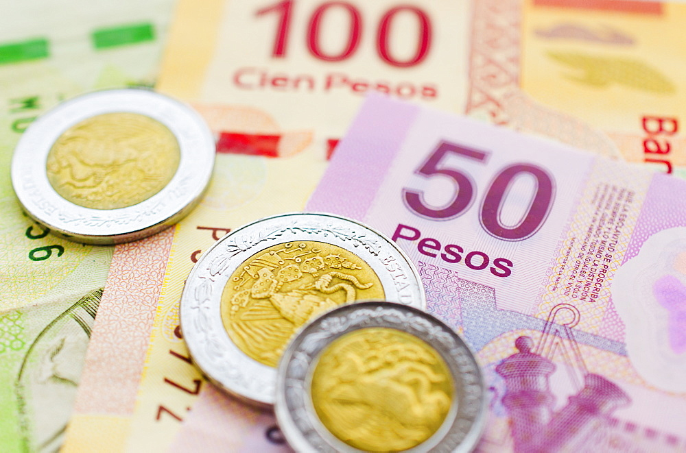 Studio shot of Mexican currency