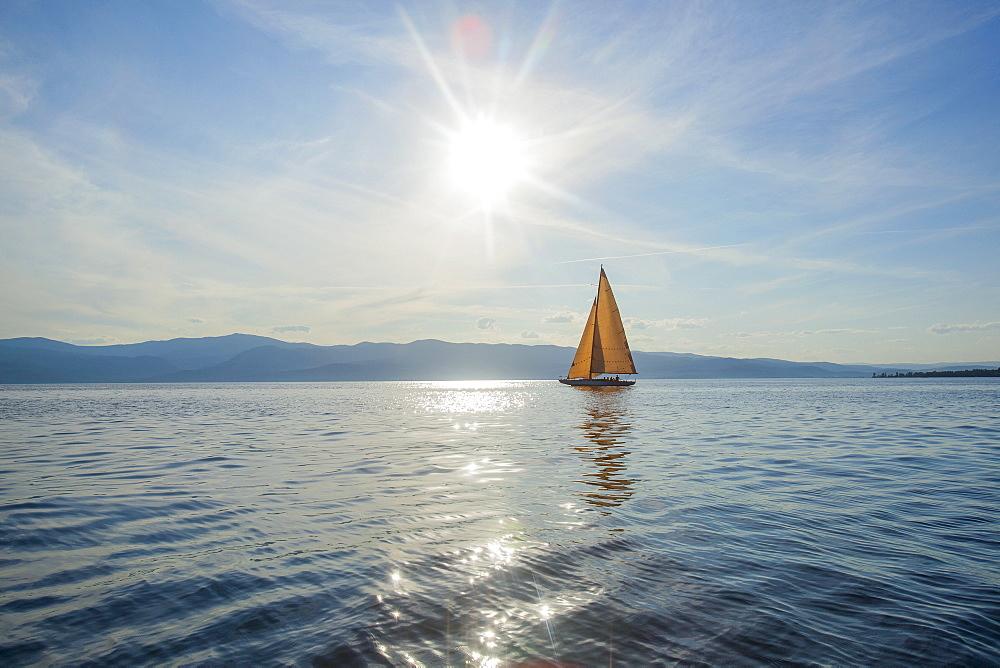 Flathead Lake, Tranquil scene with sailboat, Flathead Lake, Montana, USA