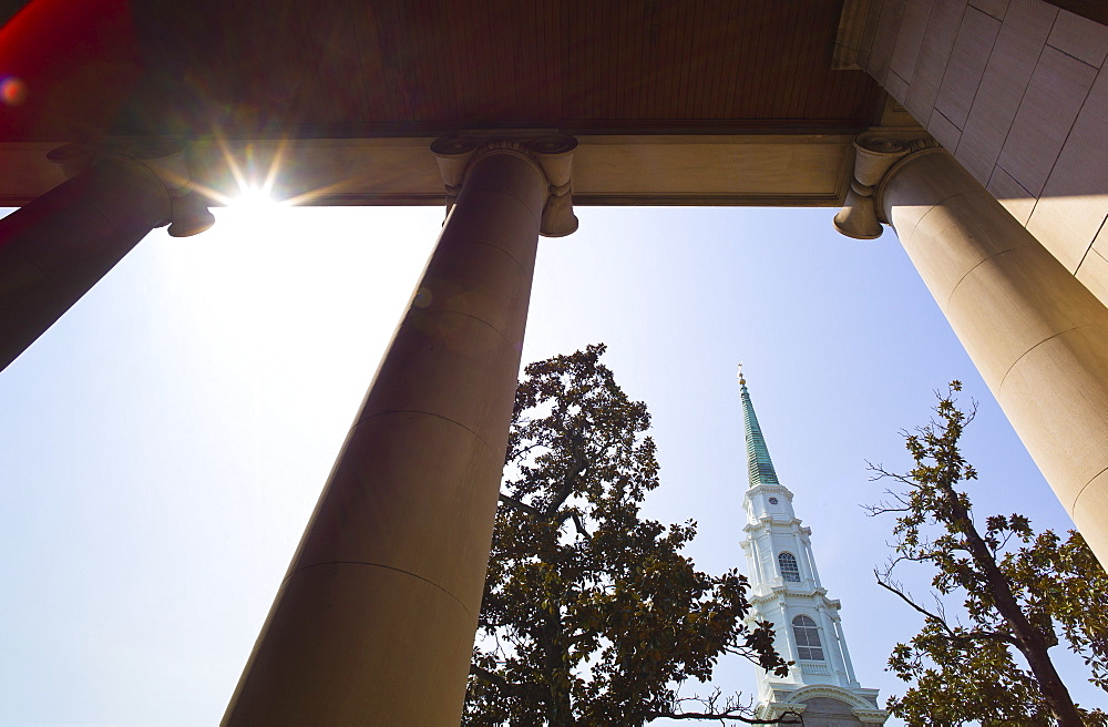 USA, Georgia, Savannah, Presbyterian church tower
