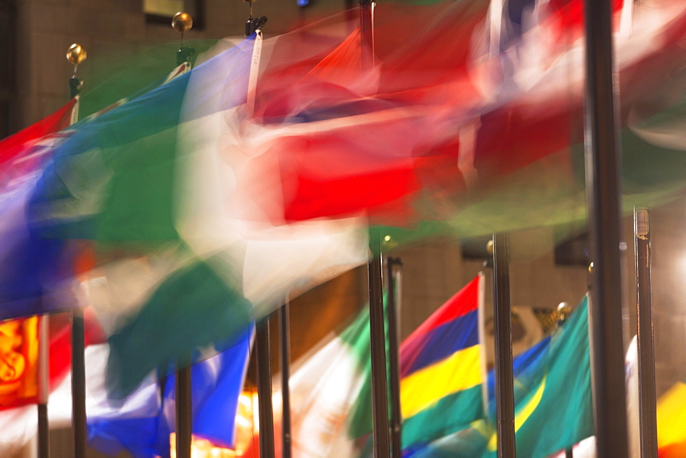 View of colorful flags in Rockefeller Center, USA, New York State, New York City