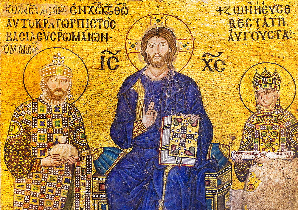 Turkey, Istanbul, Haghia Sophia Mosque, Mosaic of Christ with kings