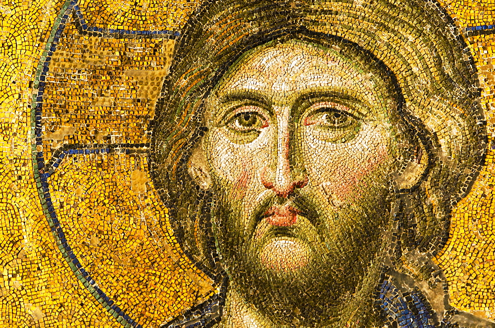 Turkey, Istanbul, Mosaic of Christ Pantocrator in Haghia Sophia Mosque  - 1178-13777
