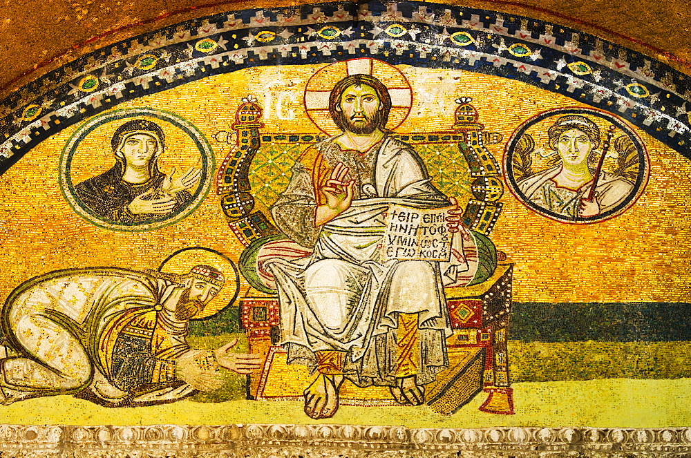 Turkey, Istanbul, Mosaic of Leo VI kneeling before Jesus in Haghia Sophia Mosque