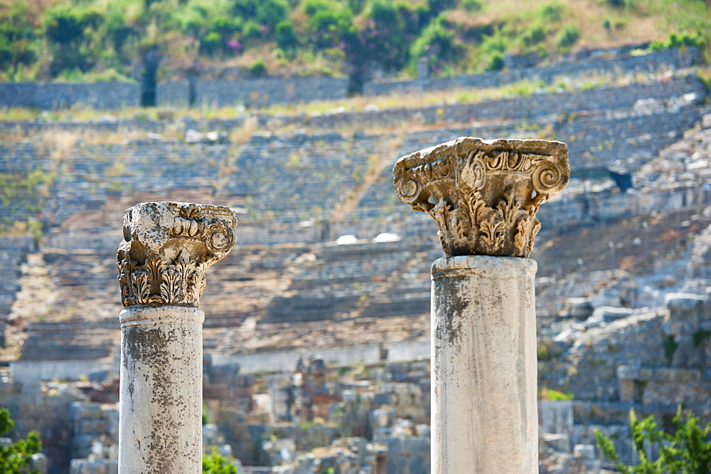 Turkey, Ephesus, Corinthian columns in Roman amphitheatre