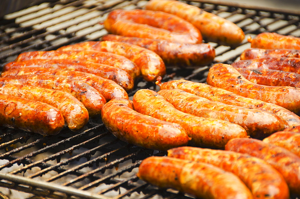 Sausages on barbeque