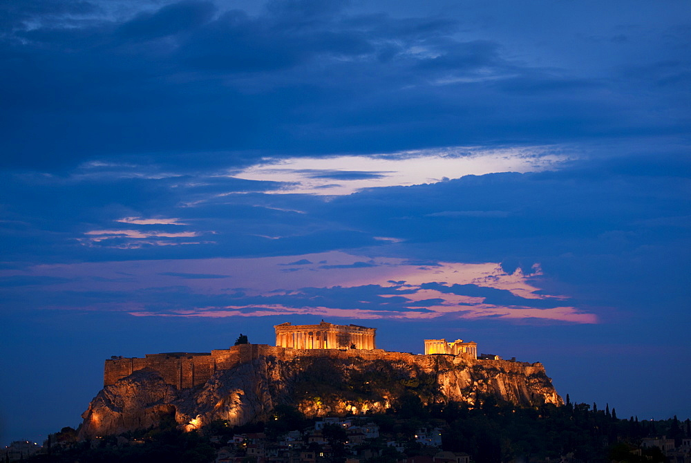 Greece, Athens, Acropolis illuminated at night
