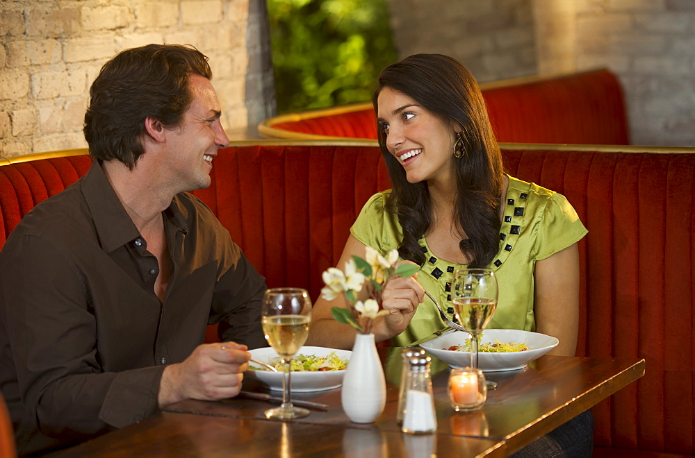 Couple dining together in restaurant