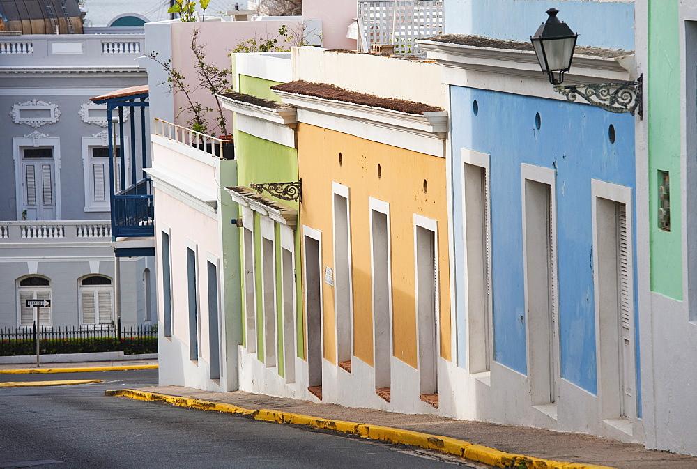Puerto Rico, Old San Juan, Old town street scene