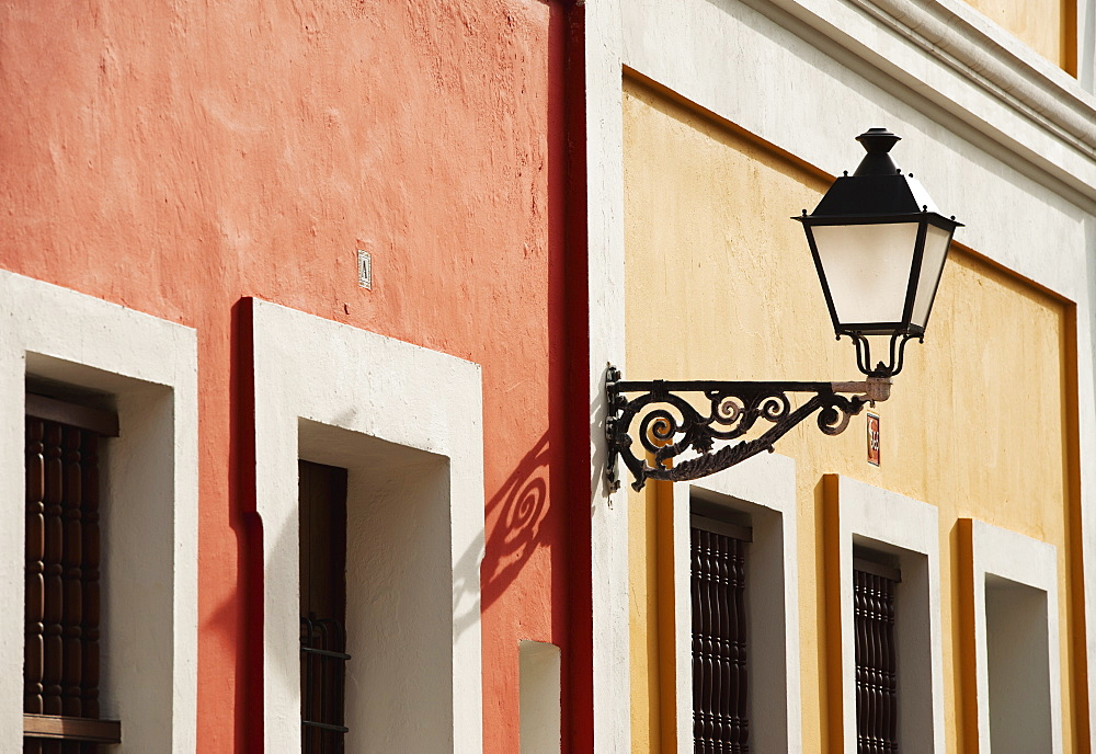 Puerto Rico, Old San Juan, facade of colorful houses