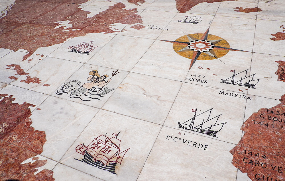 Map on Monument to Discoveries, Lisbon, Portugal