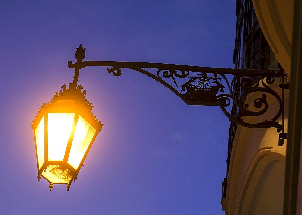 Street light at night, Lisbon, Portugal