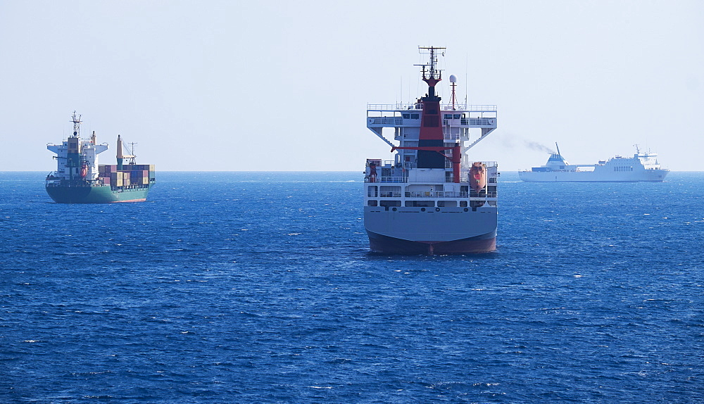 Cargo containers in sun, Valldemossa, Mallorca, Spain