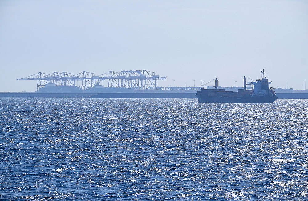 Cargo containers in sun, Mediterranean