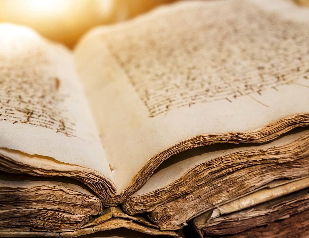 Library in monastery, Ancient manuscript, Valencia, Spain