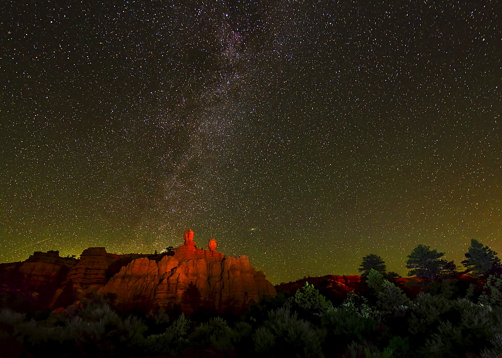 Red Canyon at night, USA, Utah, Red Canyon