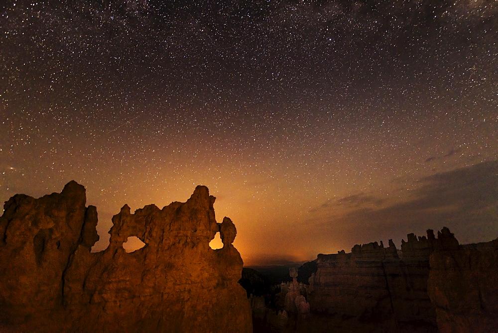 Rock formations at night, USA, Utah, Bryce Canyon