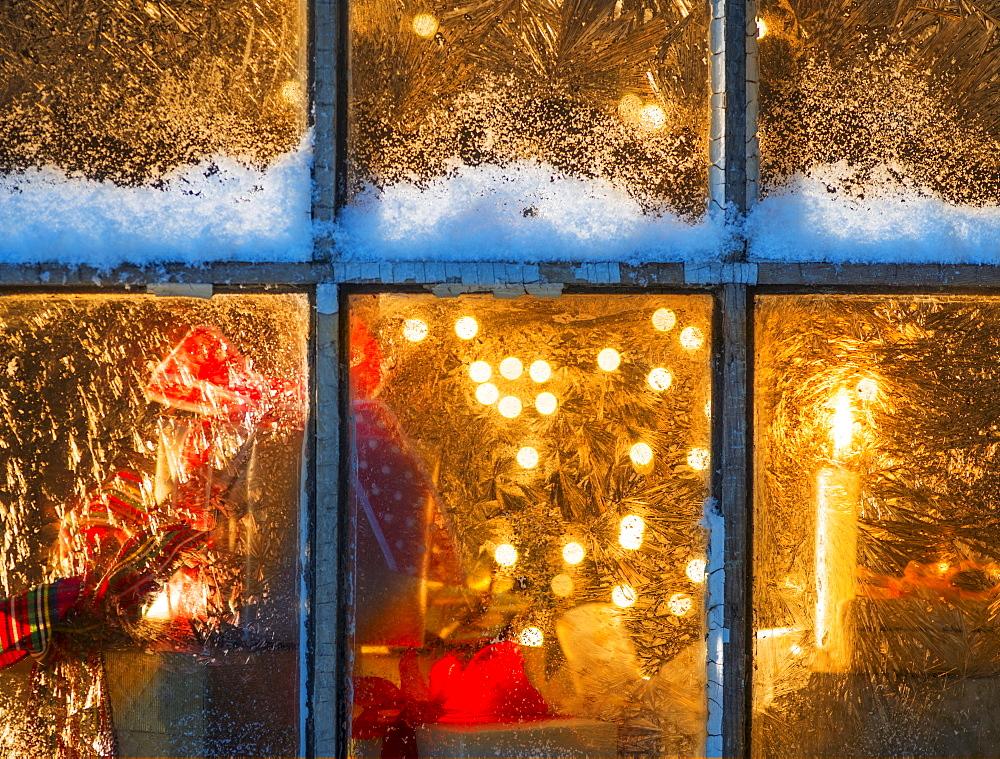 Window with Christmas lights