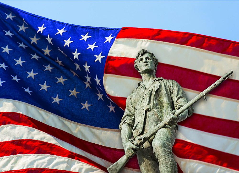 Minutemam statue with flag, Lexington, Massachusetts