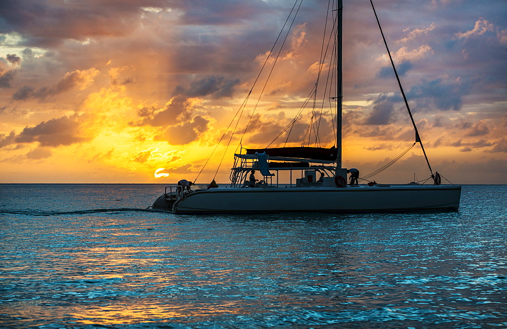 Catamaran on sea at sunset, Jamaica