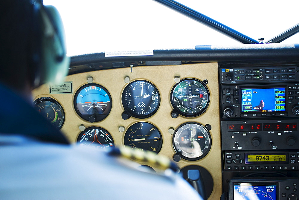 Close up of airplane cockpit