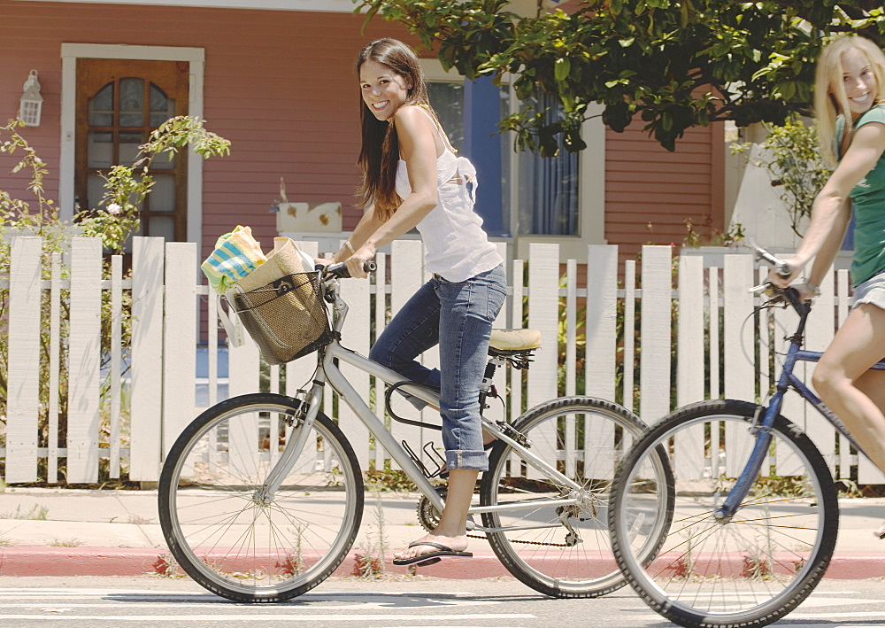 Teens riding bikes