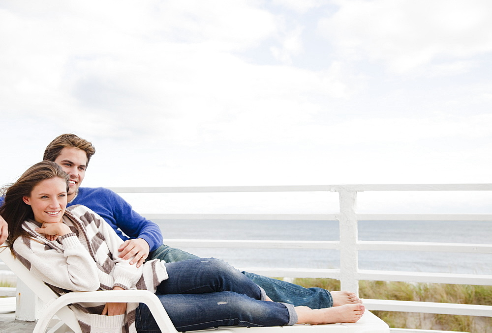 Couple on lounge chair