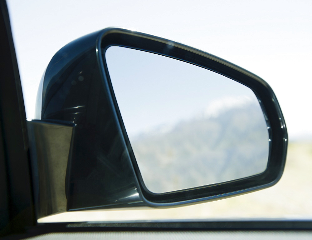 USA, California, Palm Springs, Coachella Valley, San Gorgonio Pass, Close up of rear- view mirror