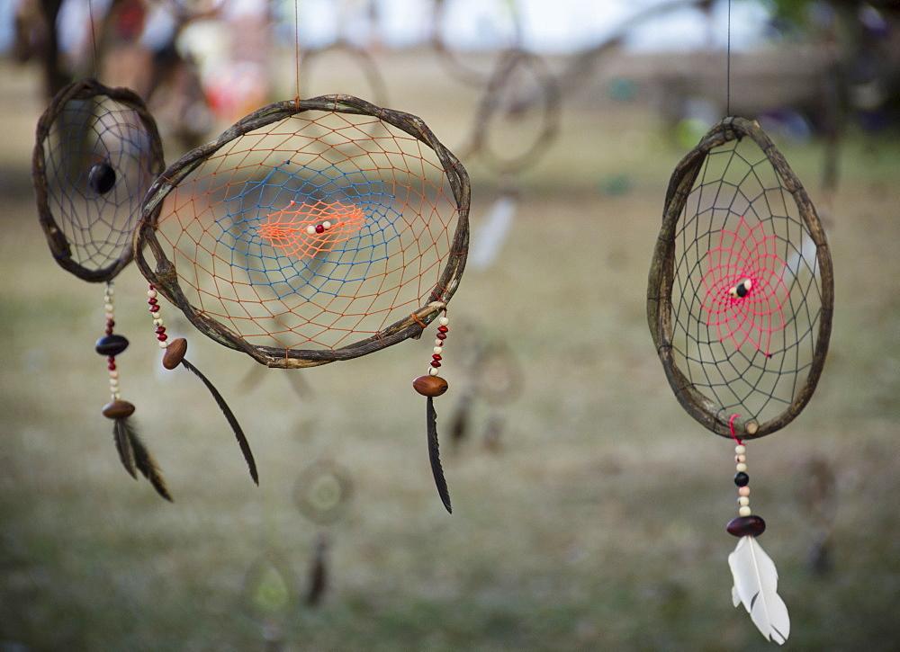 Brazil, Bahia, Trancoso, Dream catchers hanging