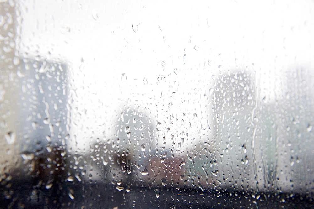 Close up of window in rainy day