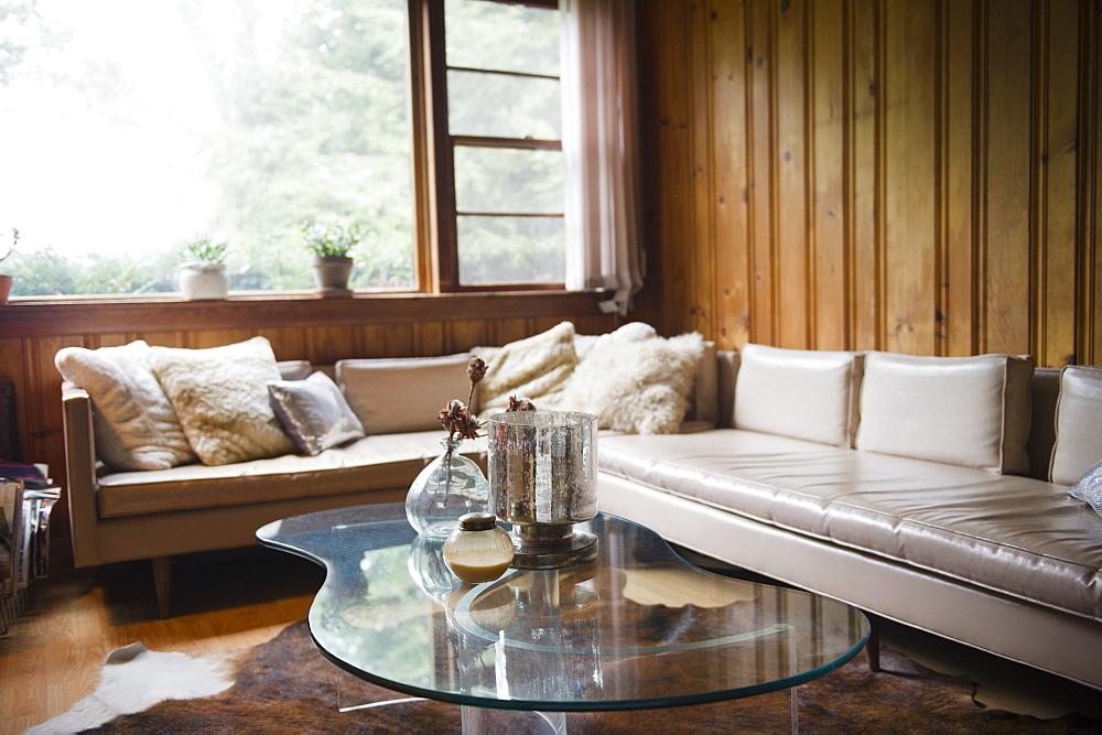 Roaring Brook Lake, Living room in summer home