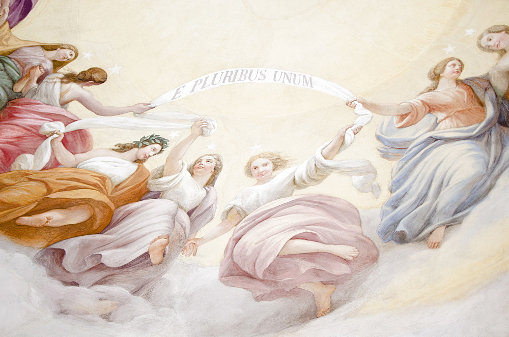 USA, Washington DC, Capitol Building, Close up of fresco on ceiling