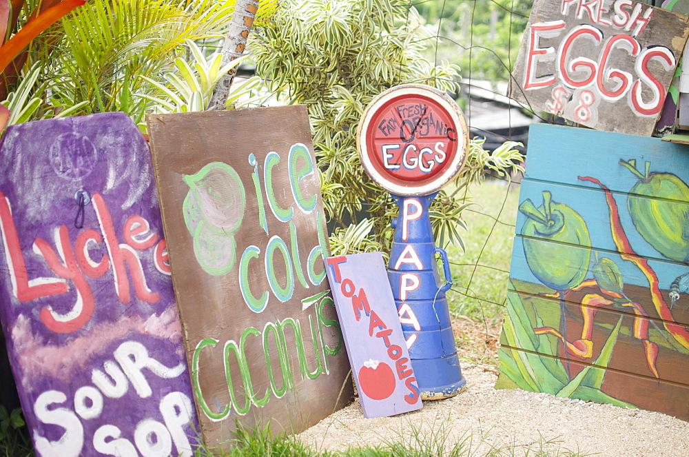 Handmade banners on farm, USA, Hawaii, Kauai