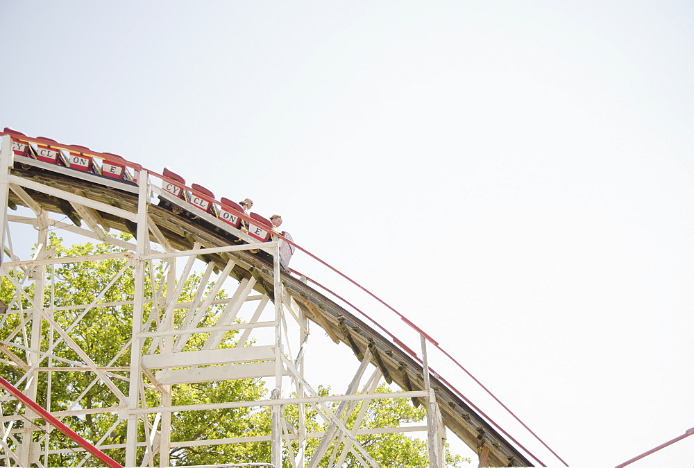 Roller coaster in amusement park, USA, New York State, New York City, Brooklyn, Coney Island