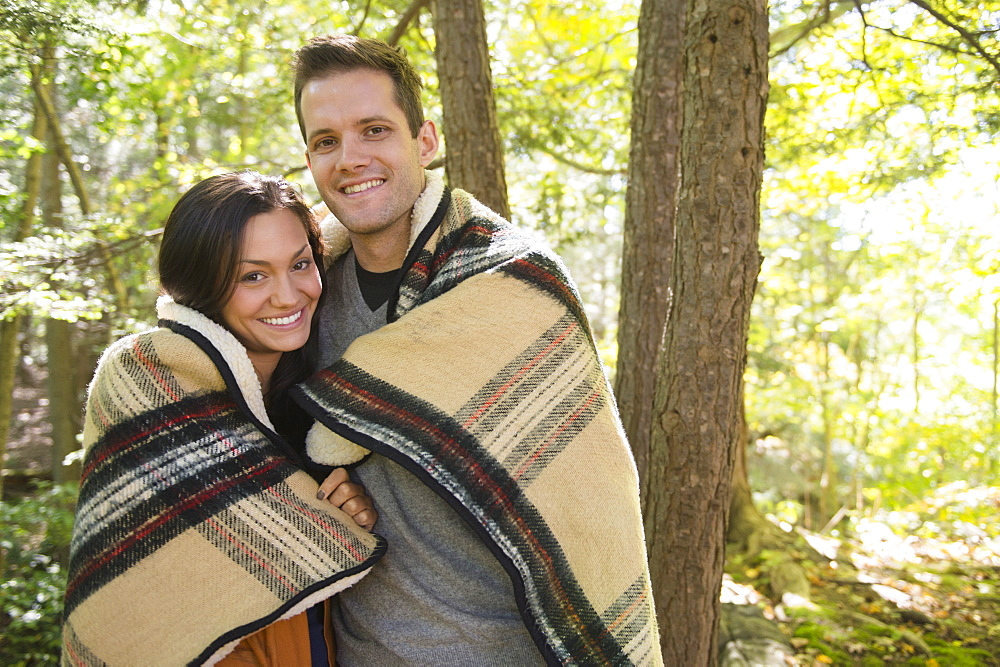 Portrait of couple in forest, Newtown, Connecticut