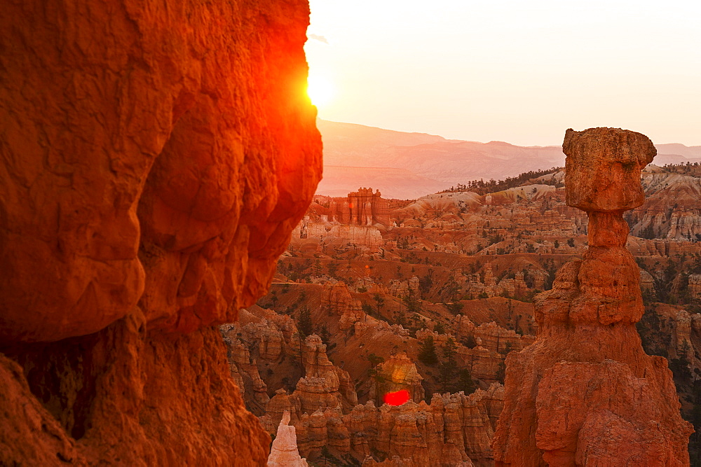 View of Thor's Hammer at sunset, USA, Utah, Bryce Canyon