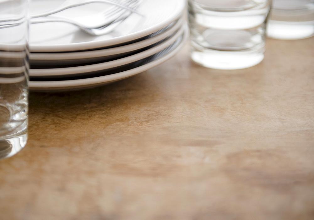 Studio shot of tableware and glasses