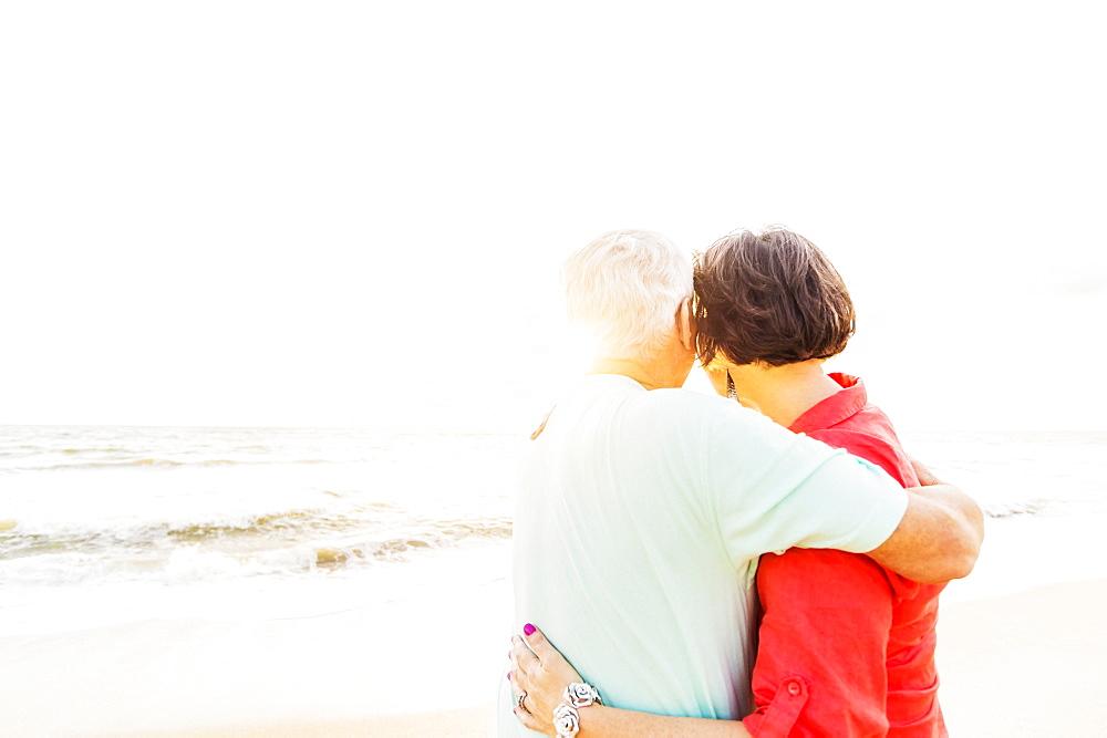 Older couple spending time together on beach, Jupiter, Florida