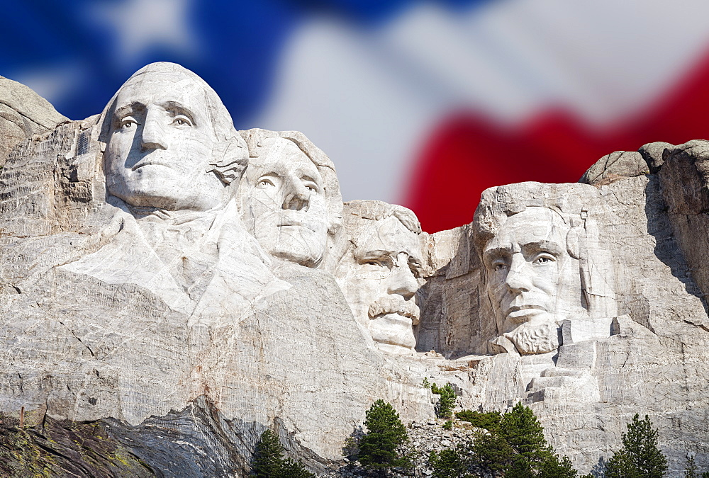 Mount Rushmore National Memorial with American flag in the background, USA, South Dakota, Black Hills, Mount Rushmore National Memorial