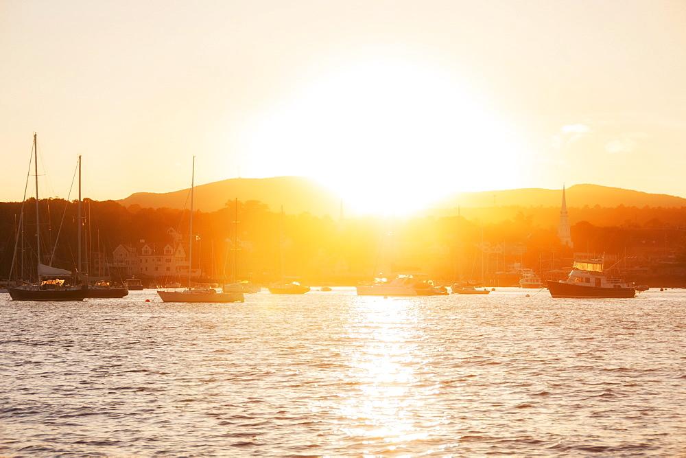 Epic sunset over Camden Harbour, USA, Maine, Camden