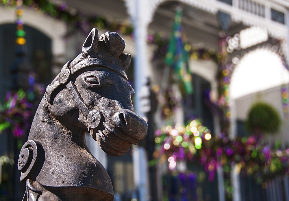 Horse statue in front of old building, USA, Louisiana, New Orleans