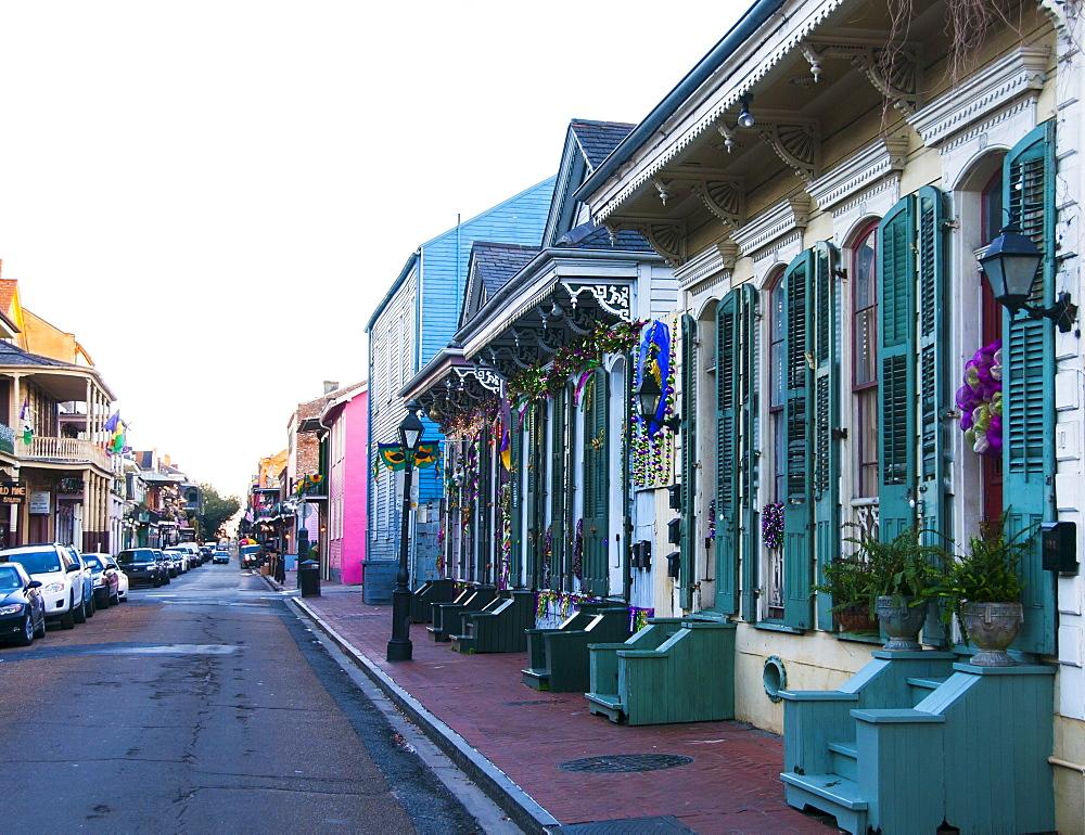 View of narrow street, USA, Louisiana, New Orleans