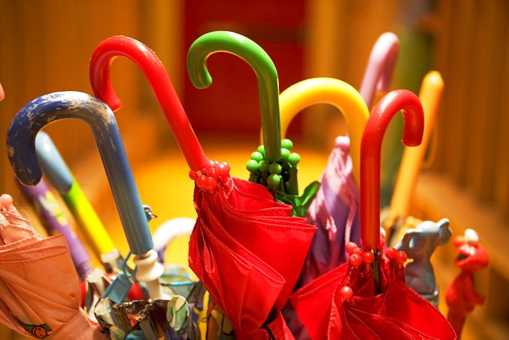 Assorted closed umbrellas