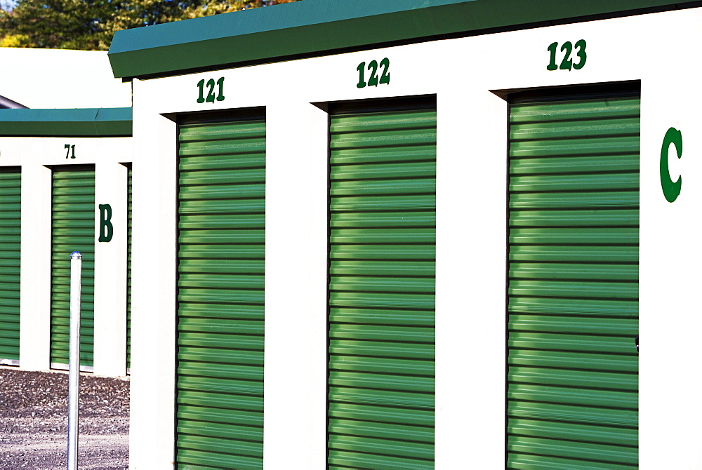Row of outdoor self storage units