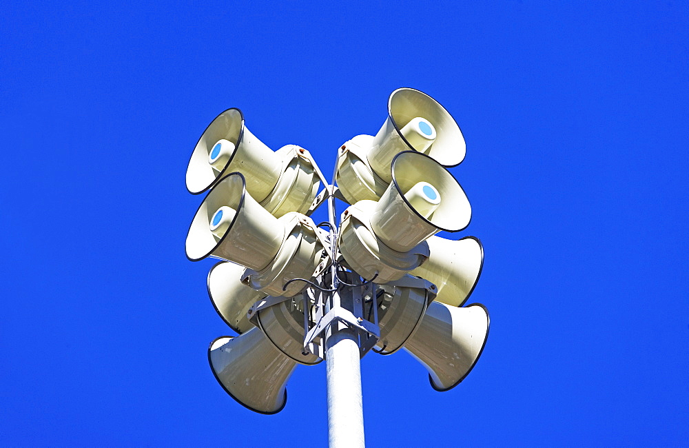 Low angle view of outdoor speakers