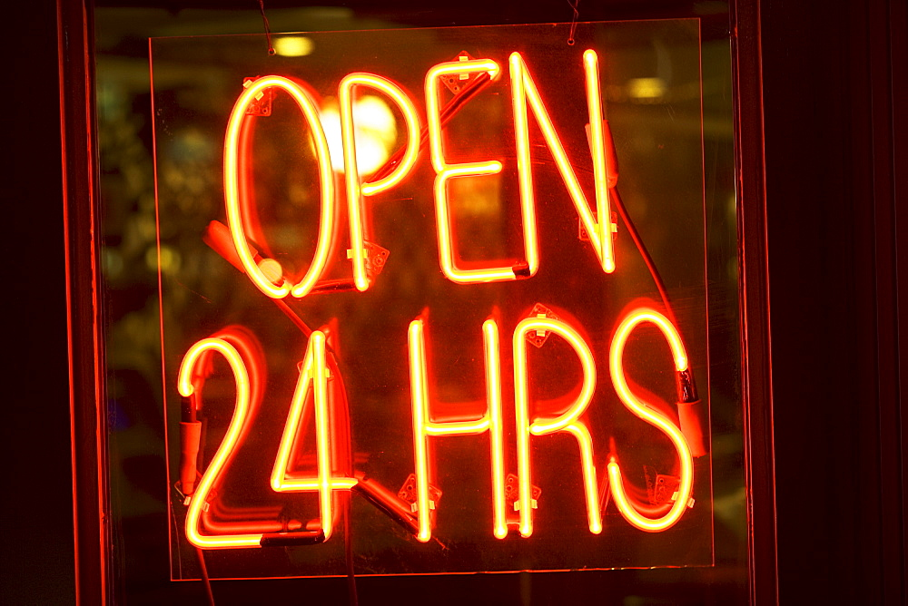 Neon Open sign in window