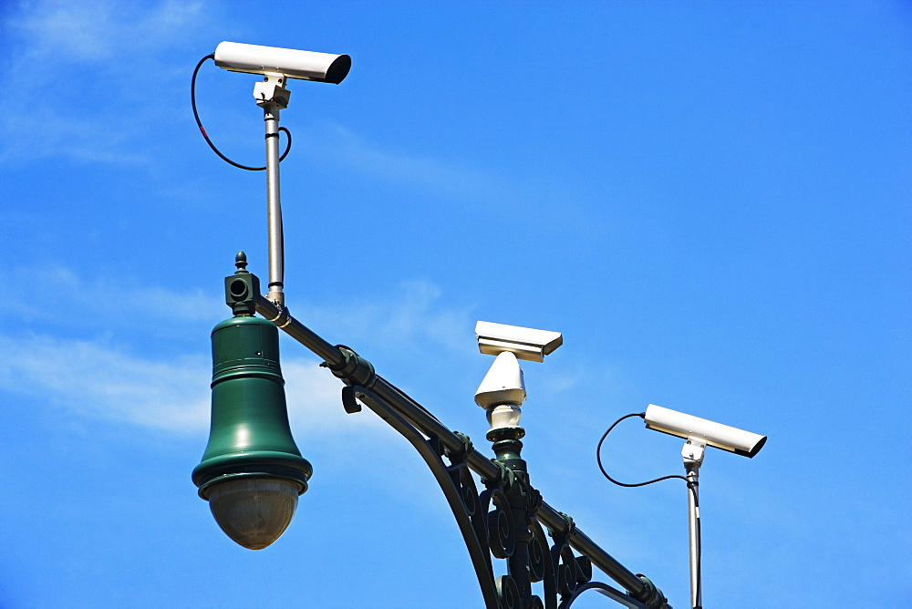 Security cameras on lamp post