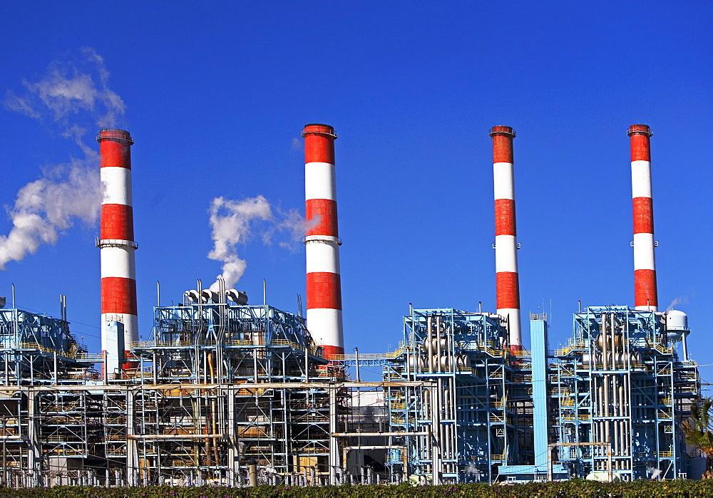 energy plant smokestacks
