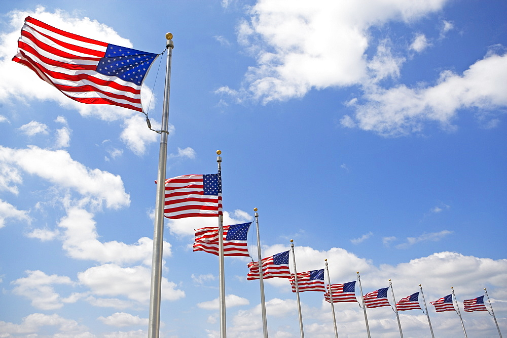 Low angle view of American flags