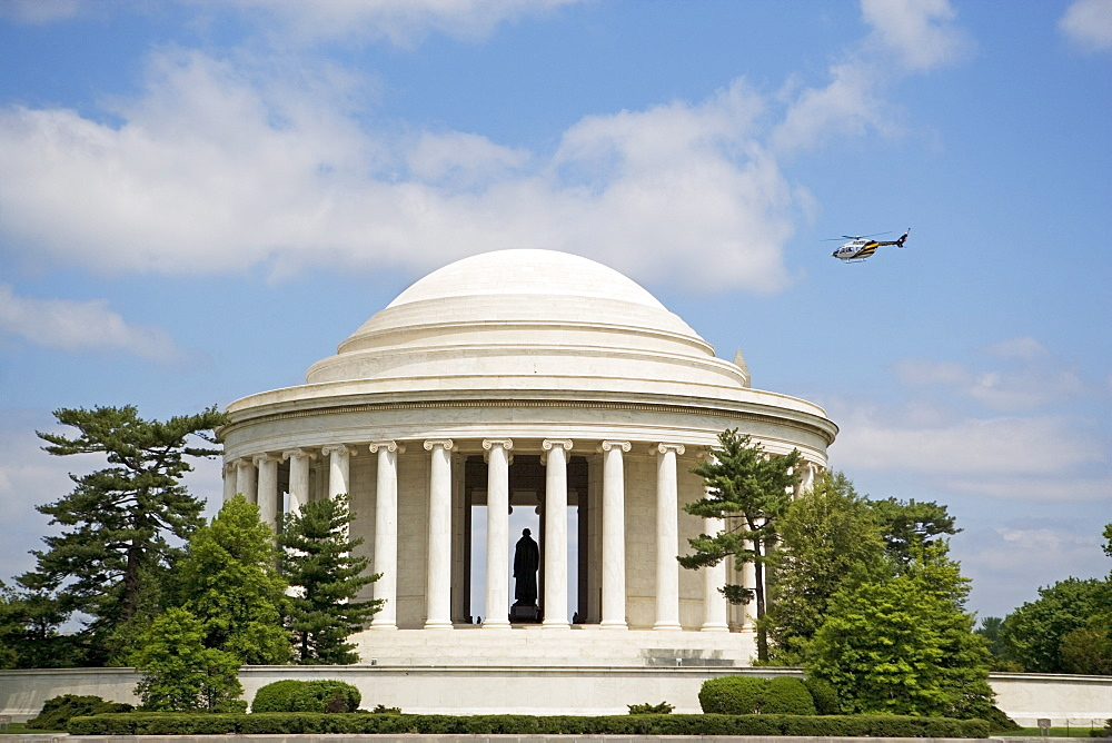 Helicopter flying over Jefferson Memorial, Washington DC, United States