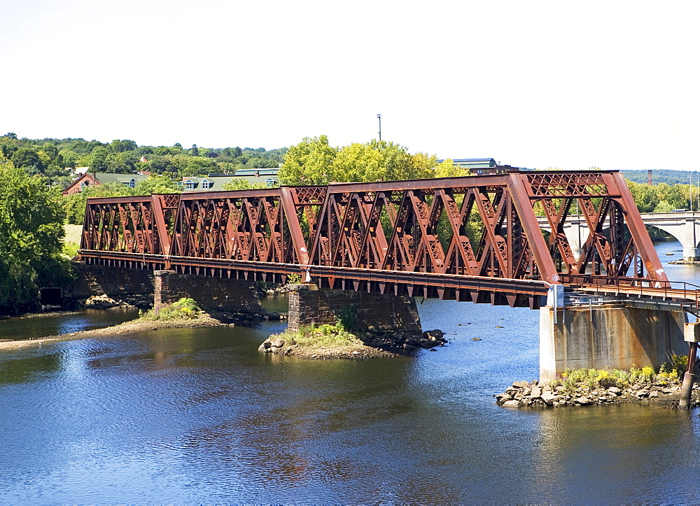 Steel railroad bridge spanning river, Connecticut